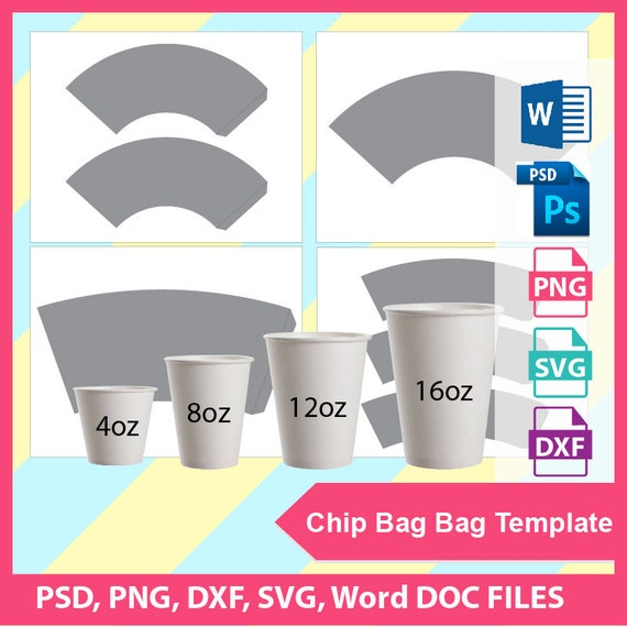 bundle 4 sizes paper cup wrapper template ice cream cup etsy