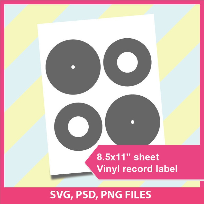 photograph about Printable Vinyl Record Labels titled Vinyl background label template, Microsoft phrase document, PSD, PNG and SVG, Dxf, Formats, 8.5x11\