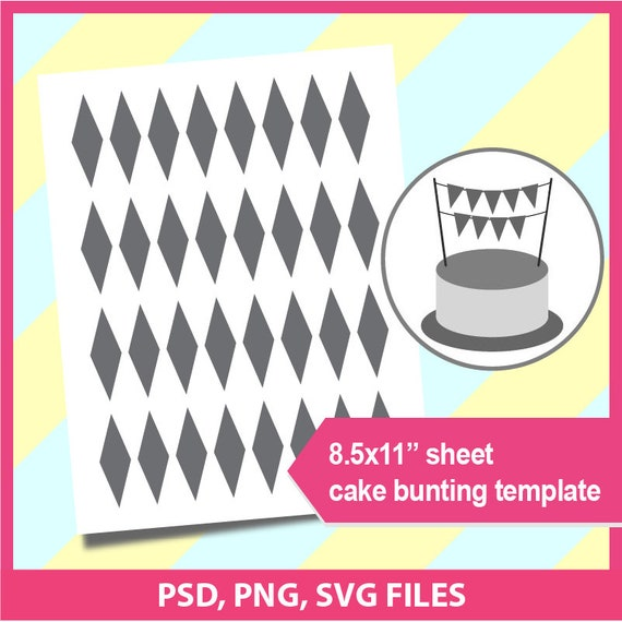 instant download cake bunting banner template microsoft word etsy