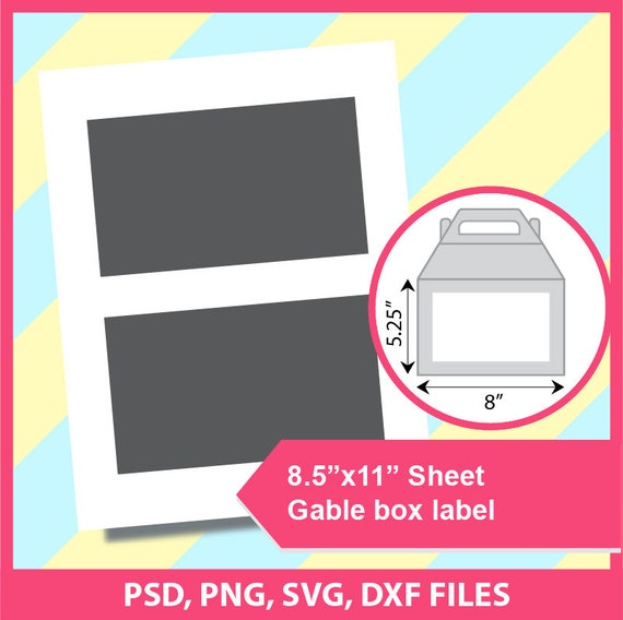 instant download gable label template gift box label psd etsy