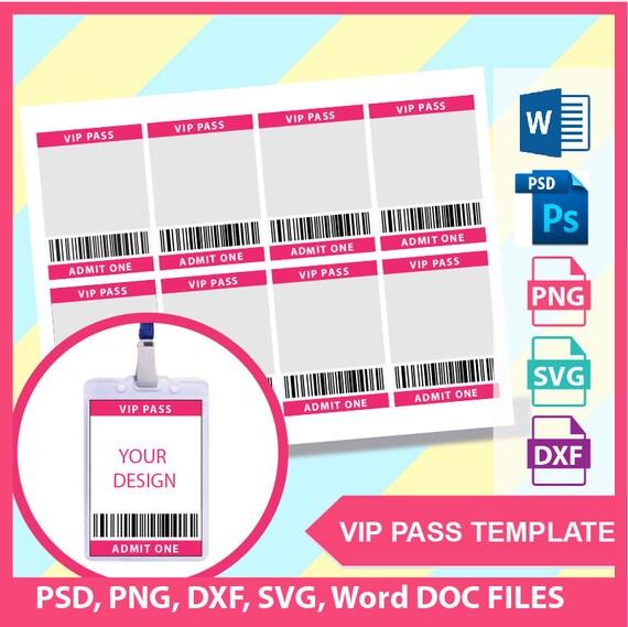 vip pass template microsoft word