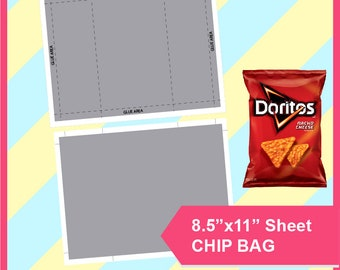 """Instant Download Chip Bag Template, PSD, PNG, SVG, Dxf, Microsoft Word Doc Formats, 8.5x11"""" sheet, Printable 217"""