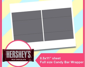 """Instant Download Hershey Candy Bar Wrapper Template, PSD, PNG and SVG, dxf, Doc Microsoft Word Formats,  8.5x11"""" sheet,  Printable 004"""