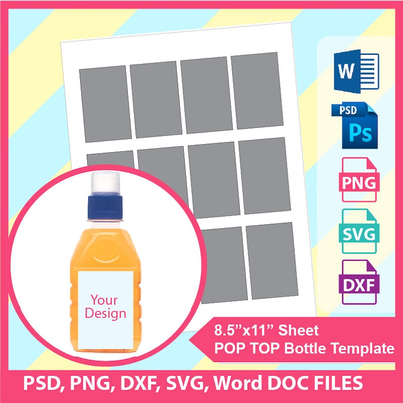 Pop Top Juice Bottle Template, Microsoft word doc, PSD, PNG and SVG, Dxf,  Formats, 8 5x11