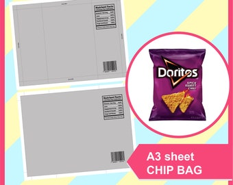 Nutrient fact. Chip Bag Template, PSD, PNG, SVG, Dxf, Microsoft Word Doc Formats, A3 sheet, Printable 258