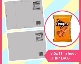 """Instant Download Chip Bag Template, PSD, PNG, SVG, Dxf, Microsoft Word Doc Formats, 8.5x11"""" sheet, Printable 267"""