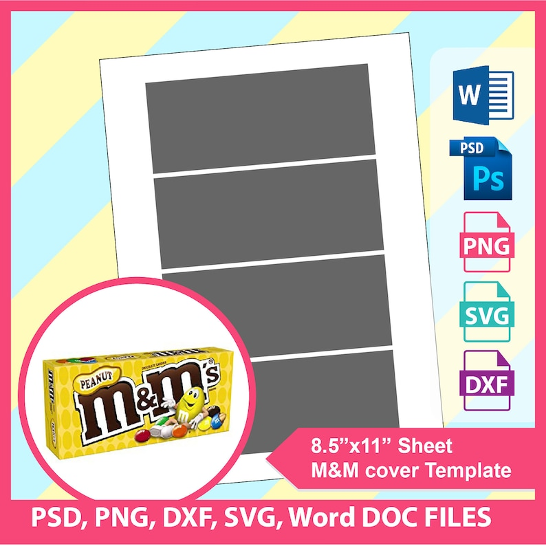 3 1oz M M Movie Theater Candy Cover Template Treat Bag Etsy