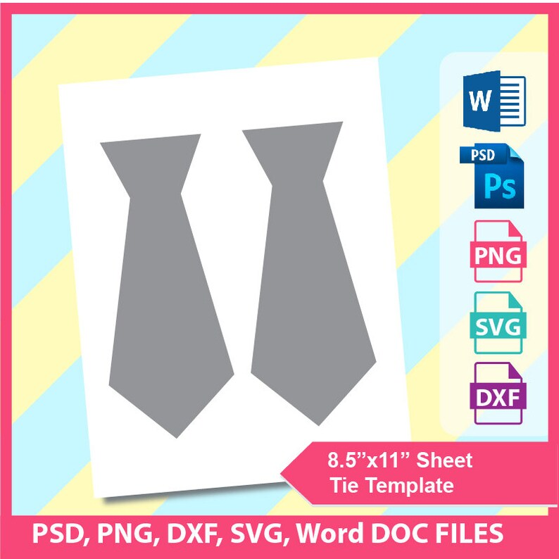 Tie Template Invitation PSD PNG And SVG Formats 85x11 Sheet Printable 425