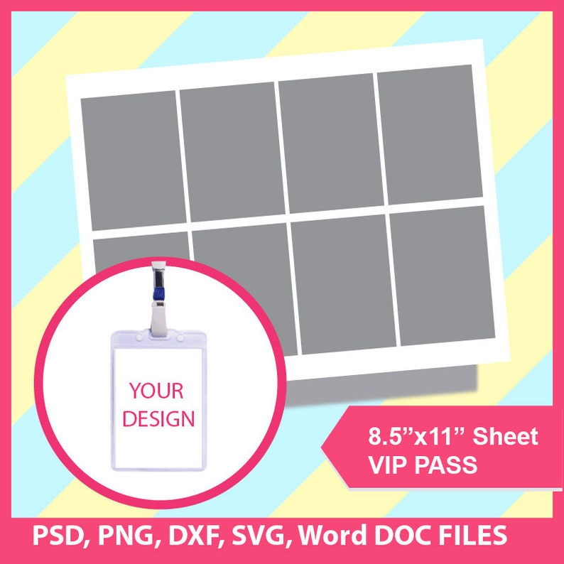 VIP Pass, Vip Pass template, Invitation template, Microsoft word doc, PSD,  Png and SVG, Dxf, Formats,, 8 5x11