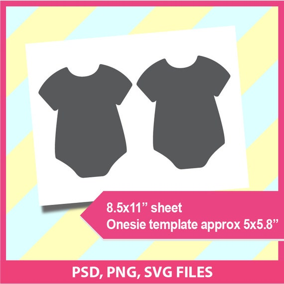Onesie Template Baby Shower Invitaiton Template Microsoft Word Doc Psd Png And Svg Dxf Formats 8 5x11 Sheet Printable 012