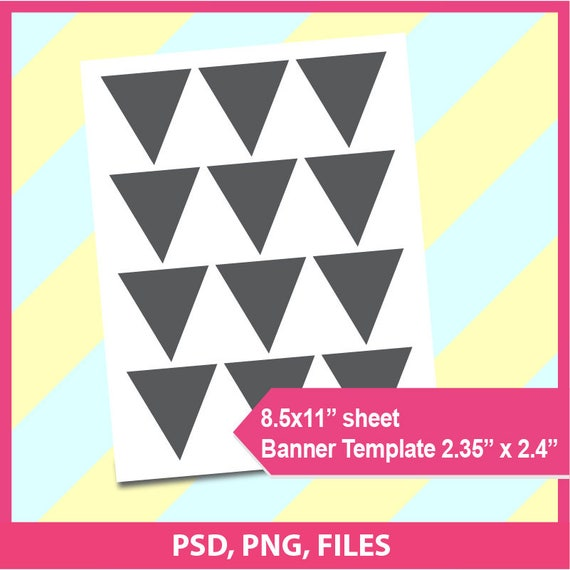 cake bunting banner template triangle template flag etsy