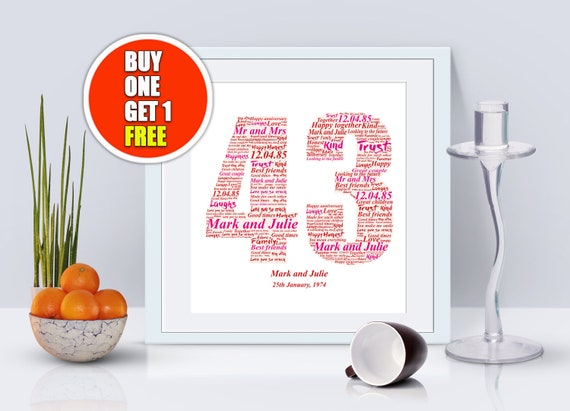 43rd Anniversary 43rd Anniversary Gift Forty Third Etsy