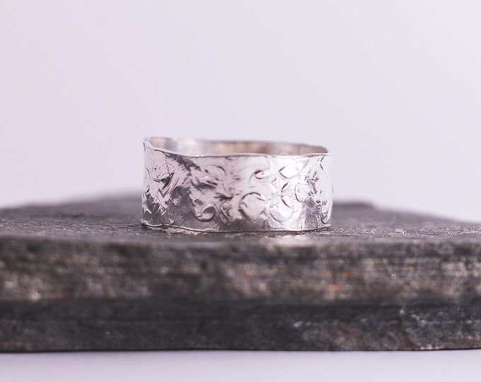 Featured listing image: Sterling Silver Wide Hammered Band Ring \\ Eco Silver //