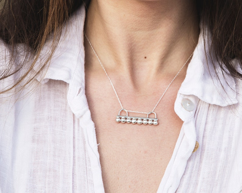 Sterling Silver Dotted Bar Necklace \\\\ Eco Silver