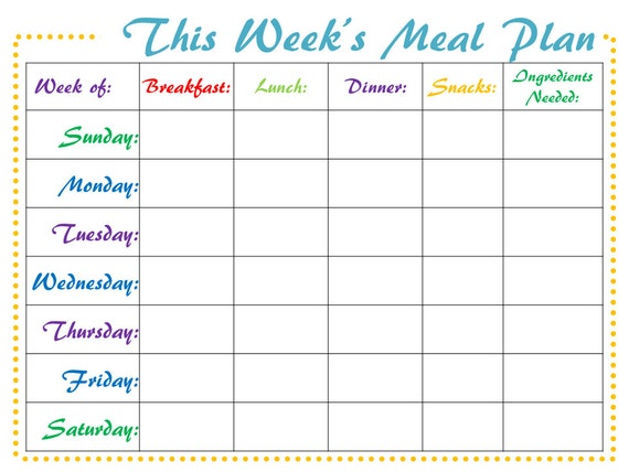 meal planner digital weekly printable meal schedule pdf