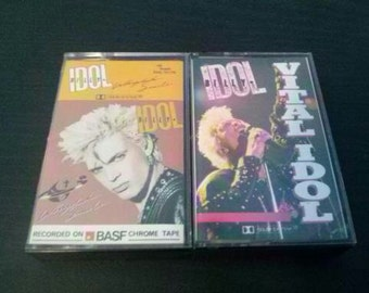 Sale- Billy Idol - Whiplash Smile & Vital Idol Cassette tapes (1986-87)