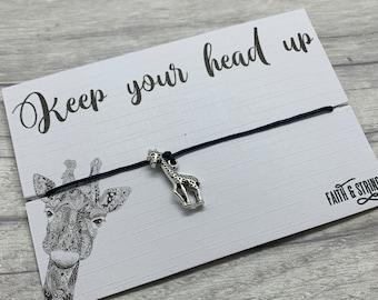 Giraffe Gift, Friendship Bracelet, Giraffe Keepsake, Giraffe card, keep your head up, Giraffe bracelet.
