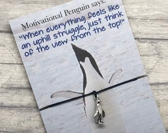 Penguin Gift Penguin Friendship Bracelet Motivational Penguin wish bracelet