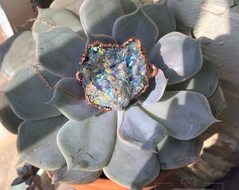 Aura Galaxy Chacledony Copper Necklace