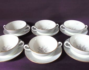 6 Wedgwood soup / salad bowls and saucers W3761 'Grey Friar Pink' pattern c.1950 - 1962