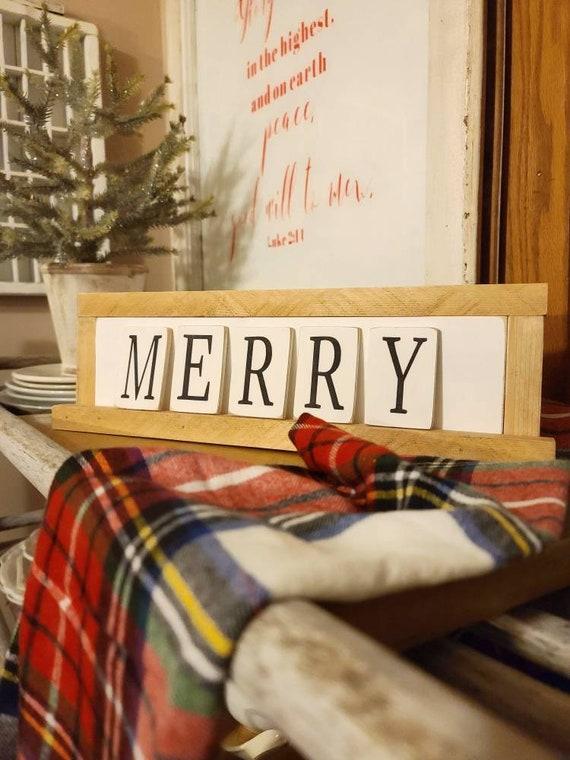 MERRY mini letter ledge wood sign
