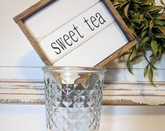 Rustic farmhouse inspired 'sweet tea' mini framed shiplap wooden sign