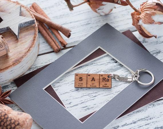 Leather Keyring Birthday Name Optional Engraving Lawson
