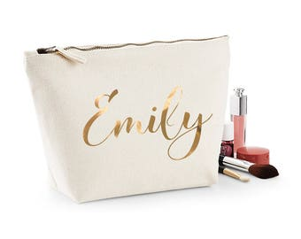 Wedding Gift Personalised Name Women/'s Make Up Accessory Bag Silver Print