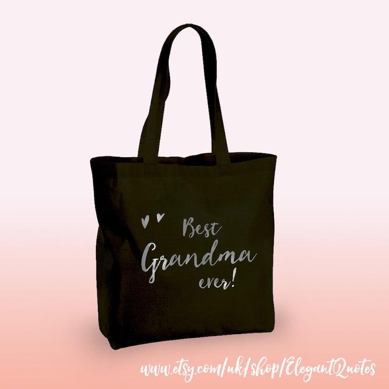 silver or black finish. 100/% cotton tote bag for grandma with gold Grandma gift