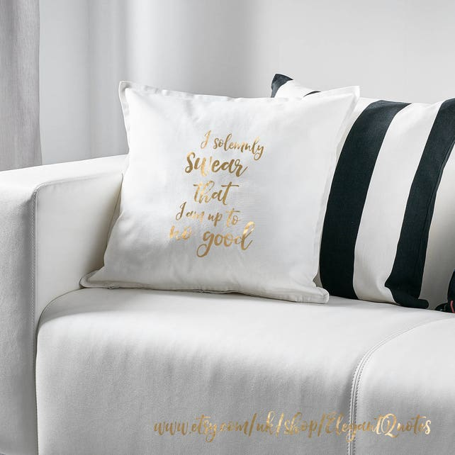 Harry Potter inspired pillow cover with gold or silver vinyl | Etsy