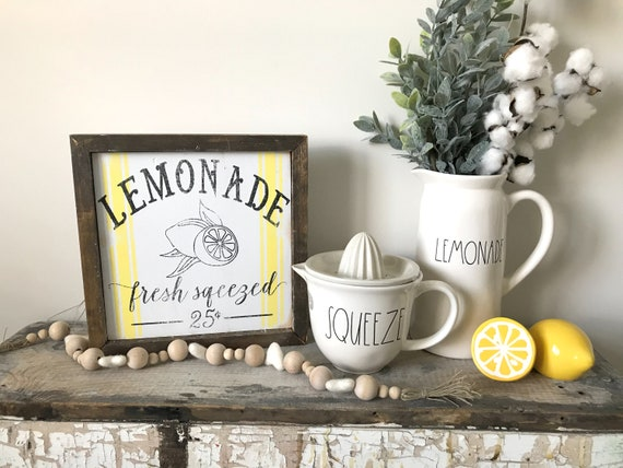 modern farmhouse decor Lemon decor lemonade sign