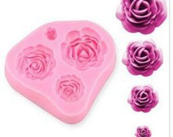 4 Mini Rose Silicone Fondant Mould