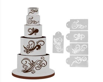 Swirls Celebration Cake Decor Border stencils 5 pack