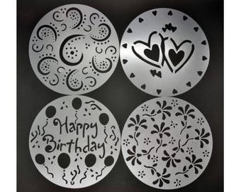 Swirls. Flowers, Hearts, Happy Birthday Cake Decor stencils 4 pack