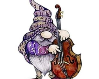 Gnome Playing a Cello Metal Die Cutter