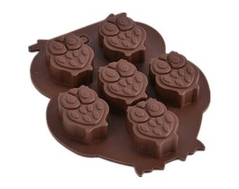 6 cavity Owl Silicone Mould for Chocolates, Wax Melts, Sugarcraft & other crafts