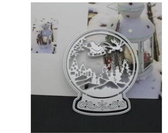 Santa in his Sleigh Snow Globe Metal  Die Cutter