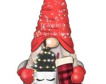 Gnome Holding a Mug with a Tree and a Stocking  Metal Cutting die