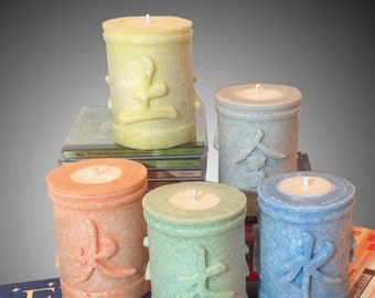 Five Element Fengshui Candles: Water, Metal, Earth, Wood, Fire