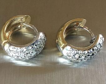 Diamond Pavé Huggie Hoop Earrings in 14K gold.