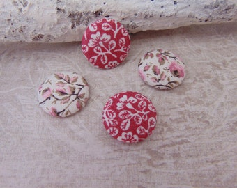 Set of 4 cabochons fabric rose flowers (20mm) ref5