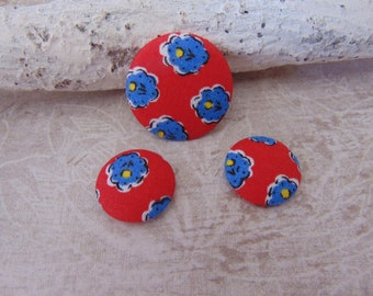 Set of 3 cabochons fabric red blue flowers (28mm and 20mm) ref3