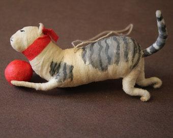 Antique Vintage Feather Tree Christmas Ornament   Spun Cotton Cat