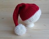 Newborn Christmas Hat, Newborn Santa Hat, Newborn Photo Props, Newborn Girl Hat, Newborn Boy Hat, Infant Hat, Knit Baby Hat, Newborn Hat