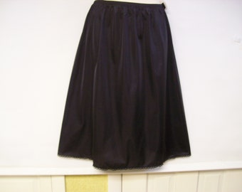 33301a82e49 Vintage VANITY FAIR Black Nylon Half Slip~Size Large~New Old Stock~Retail  Tag Attached~Lace Trimmed~