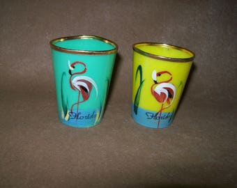 Vintage 50s Florida Flamingo Colorful Resin Plastic Shot Glasses~Hand Painted~ Pink Flamingos on Yellow and Aqua~Gold Metal Rims~ACE~