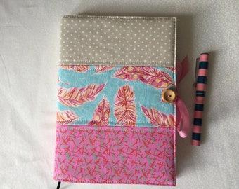 Handmade fabric covered notebook, handmade journal, fabric notebook cover with notebook