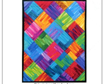 Simply Striking #256 - Quilt pattern - Gelato ombre fabrics - Maywood - Strip piecing & wedges - 4 block options - Willow Brook Quilts - C