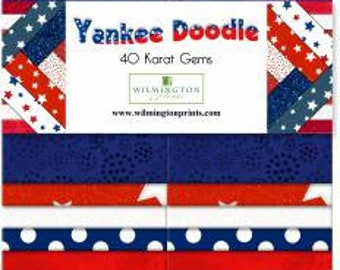 """Yankee Doodle - 40 Karat Crystals - Wilmington Prints - (40) 2.5"""" Strips - Patriotic red, white, blue, stars, dots and blenders!"""