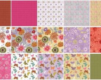 Wild Wonder - Layer Cake - Clothworks - Square bundle by Anne bollman - butterflies, spring, flowers